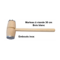 MARTEAU A VIANDE BOIS 30 CM EMBOUT INOX